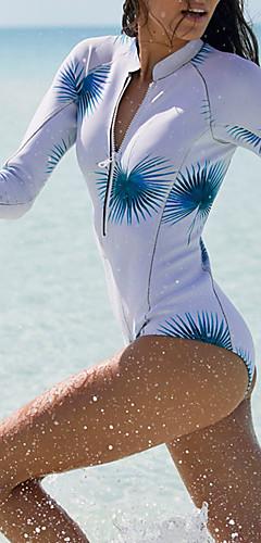 cheap -Women's Halter Neck Light Blue One-piece Swimwear - Floral Print / Basic M L XL / Sexy