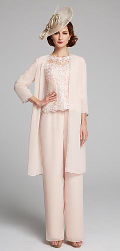 a3d74f11c564 Παντελόνια Bateau Neck Μακρύ Σιφόν   Δαντέλα Φόρεμα Μητέρας της Νύφης με  Δαντέλα με LAN TING BRIDE®   Ναι   Εσάρπα περιλαμβάνεται