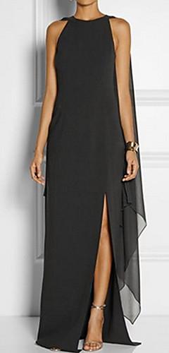 זול -שחור מקסי שכבות מרובות, אחיד - שמלה ישרה מידות גדולות אלגנטית Party בגדי ריקוד נשים