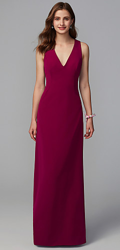 1e456f9aab0 Sheath   Column V Neck Floor Length Lace   Knit Bridesmaid Dress with Lace  by LAN TING BRIDE®
