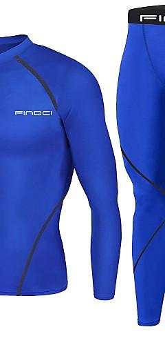 abordables -FINDCI Homme Costume de compression Des sports Mode Sous Vêtement Pantalon et chemise de compression Entraînement actif Course / Running Entraînement de gym Manches Longues Tenues de Sport Poids