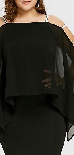זול -צווארון מרובע מעל הברך לגזור, אחיד - שמלה נדן מידות גדולות בסיסי בגדי ריקוד נשים