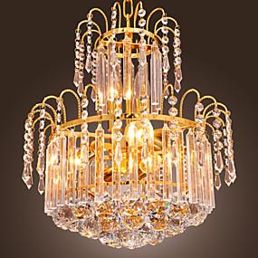 billige Takbelysning og vifter-QINGMING® Krystall Anheng Lys Opplys Gylden Krystall, Mini Stil 110-120V / 220-240V Pære ikke Inkludert / E12 / E14