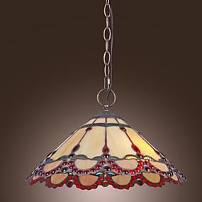 billige Tiffany Lamper-tiffany anheng lys med 2 lys i varmt lys rød kant