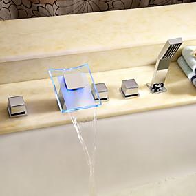 cheap Bathtub Faucets-Bathtub Faucet - Contemporary Chrome Roman Tub Ceramic Valve Bath Shower Mixer Taps / Brass / Two Handles Five Holes