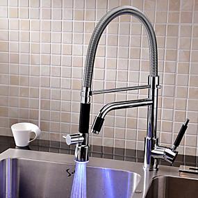 billige Uttrekkbar Spray-Kjøkken Kran - Et Hull Krom Vannrett Montering Moderne Kitchen Taps