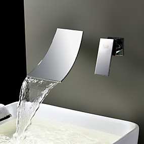 cheap Bathtub Faucets-Lightinthrbox  Sprinkle® Sink Faucets - Contemporary Stainless Steel Waterfall / Widespread / Wall Mount Two Holes