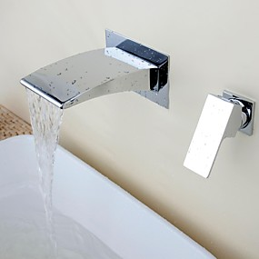 cheap Home Improvement-Bathroom Sink Faucet - Waterfall Chrome Wall Mounted Two Holes / Single Handle Two HolesBath Taps
