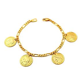 baratos Pulseira de Charme-Mulheres Pulseiras com Pendentes Cadeia Figaro senhoras Chapeado Dourado Pulseira de jóias Dourado Para Diário