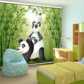 cheap Blinds & Shades-Lovely Cartoon Style Father Panda & Baby Panda With Bamboo Roller Shade