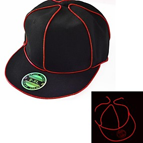 cheap Holiday Party Decorations-Black Light Up Hat with Red EL Wire LED Glow Snapback 1AAA battery