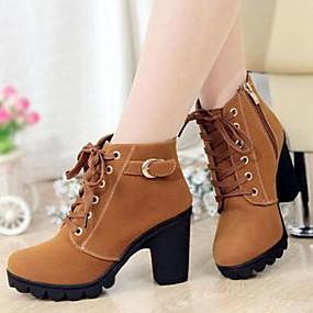 billige Mote Boots-Dame Block Heel Boots Tykk hæl Spenne / Glidelås / Snøring Semsket fuskelær 5.08-10.16 cm / Ankelstøvler Høst / Vinter Svart / Gul / Grønn / EU39