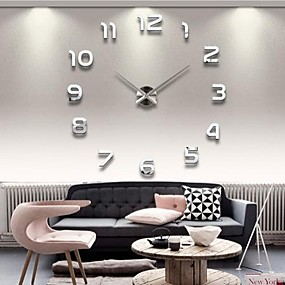 "cheap DIY Wall Clocks-39""W DIY 3D Mirror Numbers Acrylic Sticker Wall Clock"