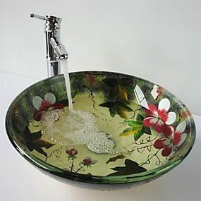 billiga Fristående tvättställ-Nutida Rund Vaskmaterial är Härdat Glas Badrumskran Badrums Monteringssing