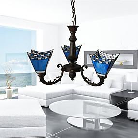 abordables Lampe Tiffany-3 lumières Bougie Lustre Lumière dirigée vers le haut Plaqué Métal Verre Style Bougie 110-120V / 220-240V / E26 / E27
