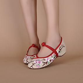 voordelige Damesschoenen met platte hak-Dames espadrille Platte hak Gesp Canvas geborduurde schoenen Lente / Zomer Crème / Zwart