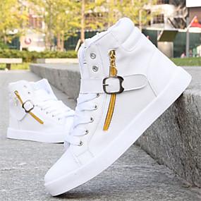 baratos Tênis Masculino-Homens sapatos Courino Inverno Calçado vulcanizado Conforto para Casual Preto Branco