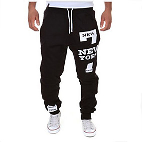 cheap Under $13.99-Men's Active / Basic Cotton Loose Sweatpants Pants - Letter Black / Red / Sports / Drawstring / Weekend