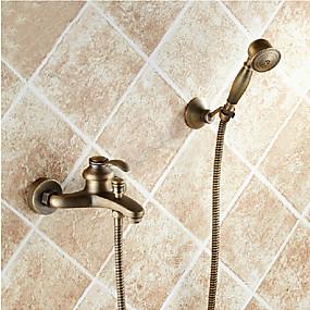 voordelige Vintage kranen-Douchekraan / Badkraan - Antiek Antiek Koper Bad en douche Keramische ventiel Bath Shower Mixer Taps / Single Handle twee gaten