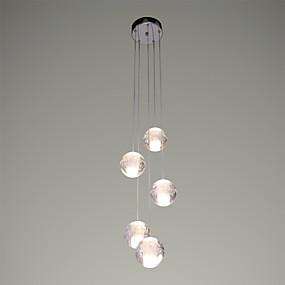 cheap Pendant Lights-UMEI™ 5-Light Cluster Pendant Light Ambient Light Chrome Metal Crystal, LED 90-240V Warm White Bulb Included / G4