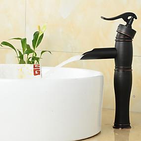 billige Ugentlige tilbud-Baderom Sink Tappekran - Foss Olje-gnidd Bronse Udspredt Et Hull / Enkelt Håndtak Et HullBath Taps