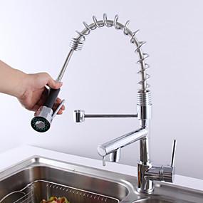 billige Uttrekkbar Spray-Moderne Uttrekkbar Vannrett Montering Træk-udsprøjte Keramisk Ventil To Håndtak et hull Krom, Kjøkken Kran