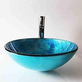 billiga Fristående tvättställ-Nutida Rund Vaskmaterial är Härdat Glas Badrums sink Badrumskran Badrums Monteringssing Badrums Vattenavlopp