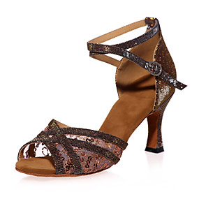Women s Latin Shoes Sparkling Glitter Sandal Sequin   Sparkling Glitter    Buckle Flared Heel Non Customizable Dance Shoes Red   Brown   Gold   Indoor  ... 0fc98ba66