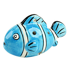 povoljno Puhaći instrumenti-plava riba šest rupa okarina c oblik