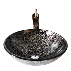 cheap Vessel Sinks-Retro Pattern Round Tempered Glass Vessel Sink with Retro Cup Faucet ,Pop - Up Drain and Mounting Ring