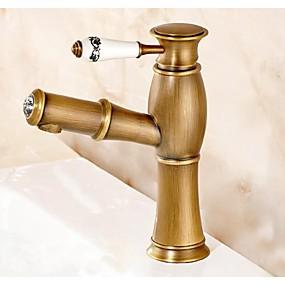 abordables Offres de la Semaine-Robinet lavabo - Avec spray démontable Laiton Antique Montage Mitigeur un trouBath Taps