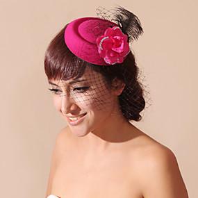 baratos Clássico-Mulheres Menina das Flores Penas Veludo Rede Capacete-Casamento Ocasião Especial Véus de Rede 1 Peça