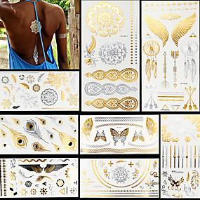 voordelige tattoo stickers-8 pcs Metallic Tatoeagestickers Tijdelijke tatoeages Totem Series / Dieren Series / Bloemen Series Waterbestendig / FLASH / Kant Lichaamskunst Gezicht / handen/ Schitteren / Patroon / Kristal