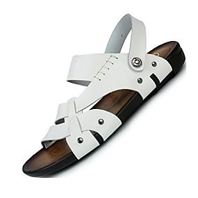 baratos Sandálias Masculinas-Homens Sapatos Confortáveis Pele Primavera / Verão Sandálias Água Branco / Preto / Castanho Claro / Casual / Ao ar livre