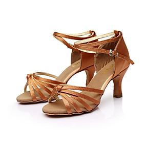 ราคาถูก รองเท้า และ กระเป๋า-สำหรับผู้หญิง ซาติน ลาติน / Salsa หัวเข็มขัด รองเท้าแตะ ส้นแบบกำหนดเอง ตัดเฉพาะได้ น้ำตาล / ทอง / น้ำเงินรอยัล / หนังสัตว์ / EU40