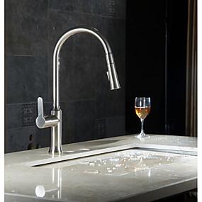 abordables Offres de la Semaine-Robinet lavabo - Avec spray démontable Nickel brossé Vasque Mitigeur un trouBath Taps