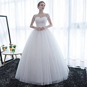 cheap Weddings & Events-Ball Gown Scoop Neck Floor Length Satin / Lace Over Tulle Made-To-Measure Wedding Dresses with Lace by LAN TING Express / Illusion Sleeve / Sparkle & Shine