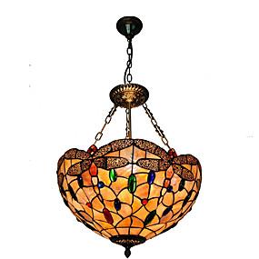 Недорогие Светильники Тиффани-диаметр 40 см оболочка оттенок подвеска огни гостиная спальня столовая свет светильник