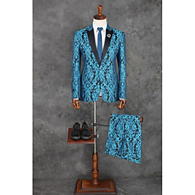 cheap Prom Suits-Ocean Blue Pattern Tailored Fit Polyester Suit - Peak Single Breasted One-button / Pattern / Print / Suits