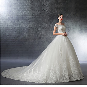 cheap Weddings & Events-Ball Gown Off Shoulder Cathedral Train Satin / Lace Over Tulle Made-To-Measure Wedding Dresses with Crystal / Appliques / Ruffle by LAN TING Express / Illusion Sleeve