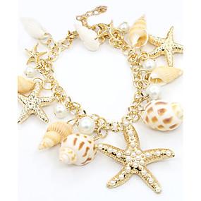 baratos Pulseira de Charme-Mulheres Pérola Pulseiras com Pendentes Estrela Estrela do Mar senhoras Fashion Imitação de Pérola Pulseira de jóias Dourado Para Diário / Chapeado Dourado