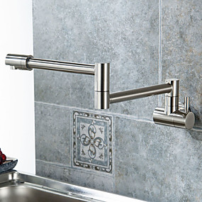 cheap Kitchen Faucets-Kitchen faucet - Single Handle One Hole Nickel Brushed Pot Filler Centerset Contemporary / Modern
