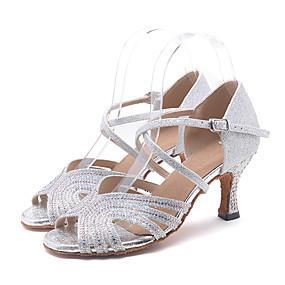 abordables Chaussures de Danse-Femme Chaussures Latines Paillette Brillante Sandale / Talon Strass / Paillette Brillante / Boucle Talon Bobine Personnalisables Chaussures de danse Rose / Doré / Vert clair / Utilisation / Cuir