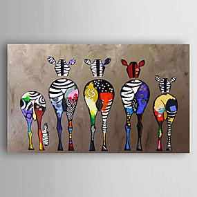 levne Abstraktní malby-ručně malované plátno zvířecí olejomalba pět barevné zebra moderní umění natažené připraven k pověsit