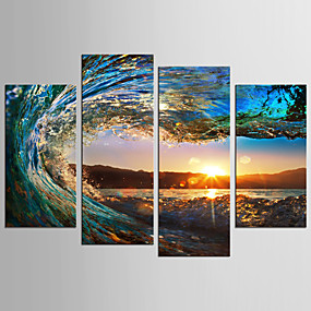ieftine Artă Pereți-Imprimeu Imprimate în rulouri de pânză - Peisaj Natură moartă Clasic Modern Patru Panouri Tablouri de artă