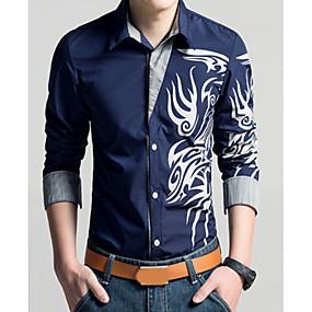 1b5ca6192 رجالي قميص قياس كبير نحيل ياقة كلاسيكية - عتيق طباعة هندسي أحمر XXL / كم  طويل / الربيع / الخريف