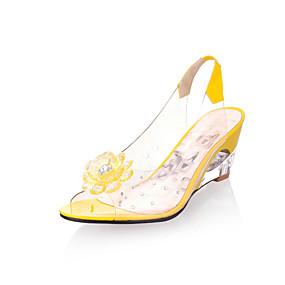 voordelige Wijdere maten schoenen-Dames Sandalen Sleehak Peep Toe Strass / Appliqués Rubber Comfortabel / Club Schoenen Zomer Geel / Rood / Blauw / EU40