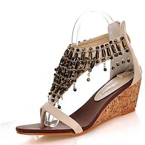 voordelige Wijdere maten schoenen-Dames Sandalen Sandalen met sleehak Sleehak Open teen  Rits / Ketting / Kwastje Kunstleer Club Schoenen Zomer Zwart / Amandel / Wedge Heels