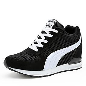 voordelige Damessneakers-Dames Sneakers Sleehak / Creepers Ronde Teen Veters Tule Zachte zool Wandelen Lente / Zomer / Herfst Wit / Zwart / Roze / EU39