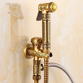 povoljno Slavine za bide-Kupaonica Sudoper pipa - Tuš uključen Antique Brass Samo tuš Jedan Ručka jedna rupaBath Taps
